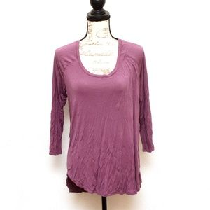 a.n.a Top Womens Large Purple 3/4 Sleeve Stretchy